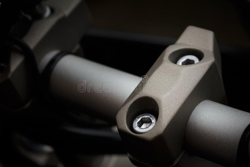 Handlebar clamp on motorcycle royalty free stock image