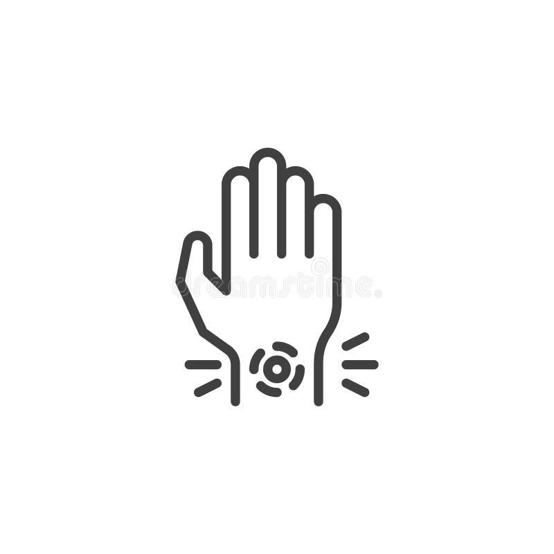 Handleden smärtar linjen symbol vektor illustrationer