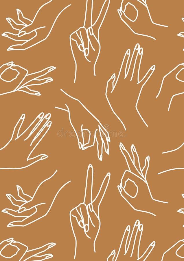 Handleine-Braun- und weißer Hintergrund der Frau Vektor-Druck von weiblichen Händen von verschiedenen Gesten stock abbildung