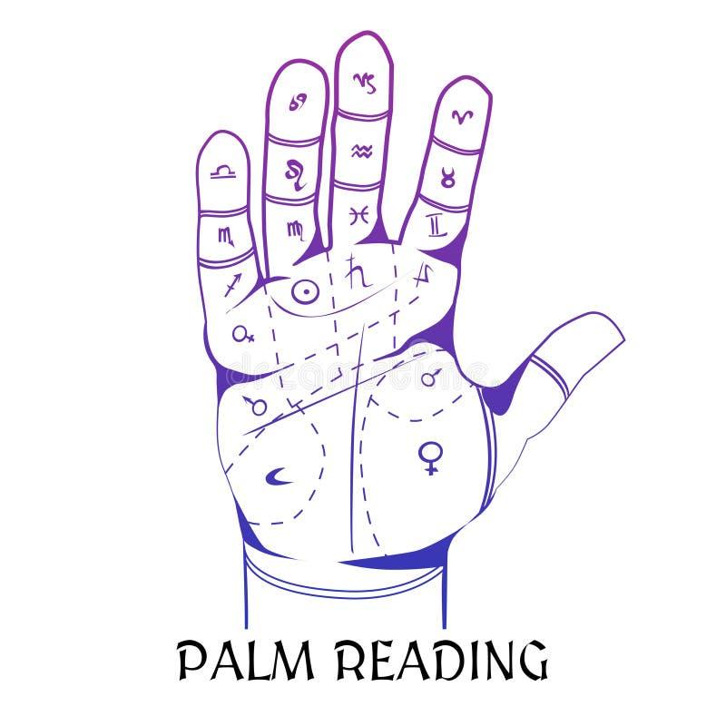 Handlesekunst-Konzept des Entwurfes mit menschlicher Palme lizenzfreie abbildung