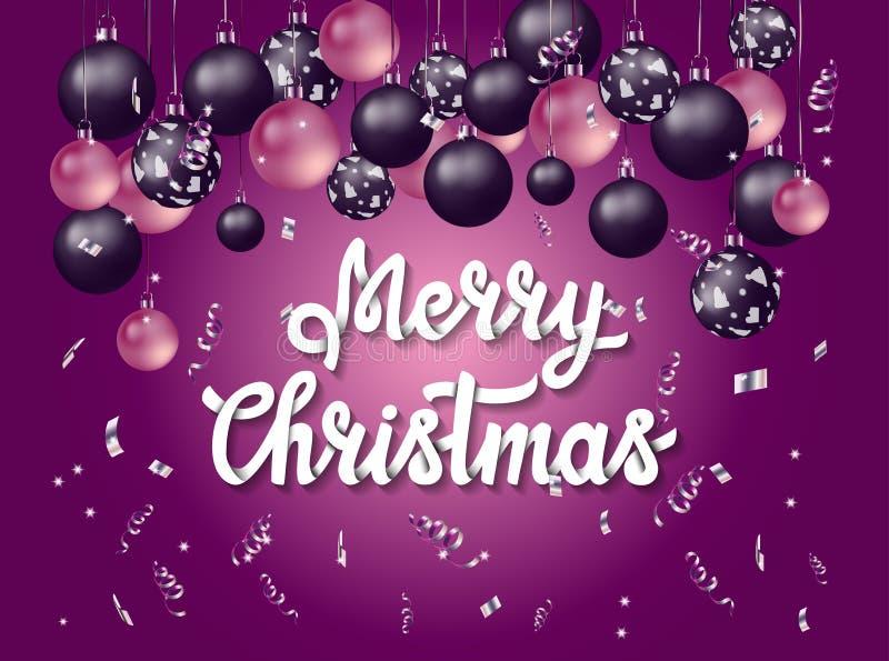 Handletterings Vrolijke Kerstmis met purpere achtergrond royalty-vrije stock fotografie