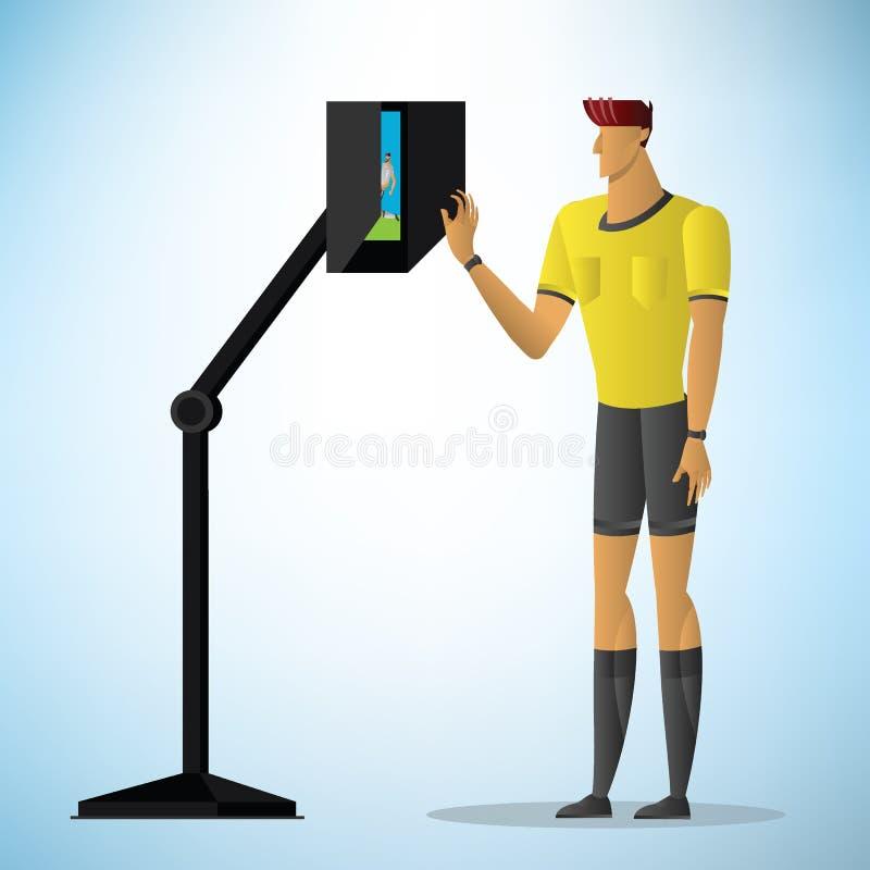 Handling för domare för assistent för fotbolldomareshower video vektor illustrationer