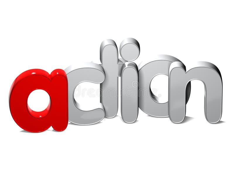 handling för ord 3D över vit bakgrund stock illustrationer