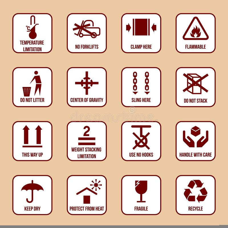 Handling and Packing Icons. Set with temperature limitation flammable no stack symbols vector illustration stock illustration