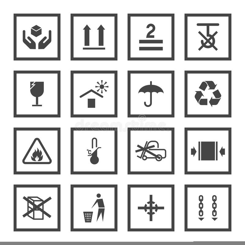 Handling and packing symbols. Handling and packing black icons set with fragile warning care symbols vector illustration vector illustration