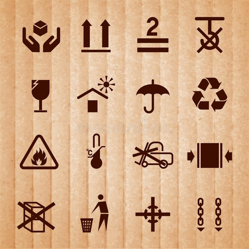 Handling and packing symbols. Handling and packing icons set with temperature limitation flammable no stack symbols isolated on cardboard background vector stock illustration
