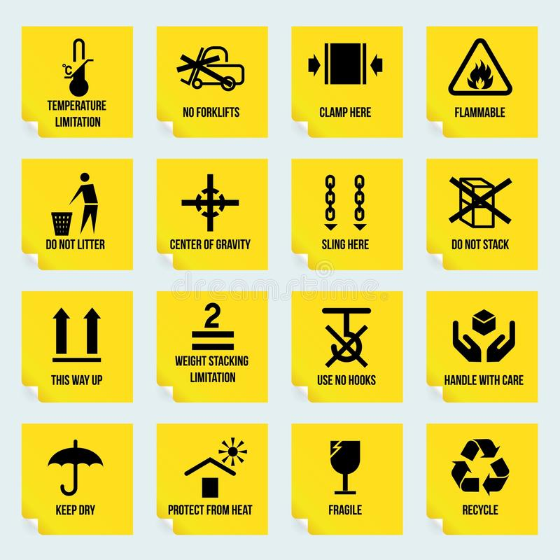 Handling and packing symbols. Handling and packing yellow stickers set with temperature limitation flammable no stack symbols isolated vector illustration royalty free illustration
