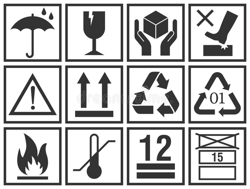 Handling and packing vector icons collection. Cargo packing symbols set: keep dry, fragile, handle with care, this side up, flammable, recycle and caution signs royalty free illustration