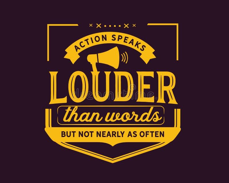 Handling talar mer hög än ord men inte nästan som ofta royaltyfri illustrationer