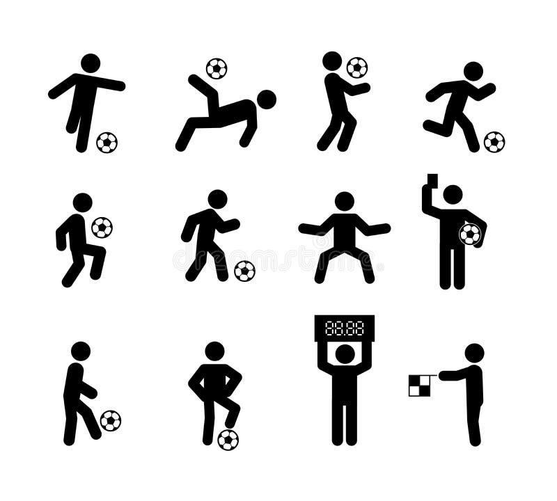 Handlingar för fotbollfotbollspelare poserar pinnediagramet symbolssymboltecken stock illustrationer