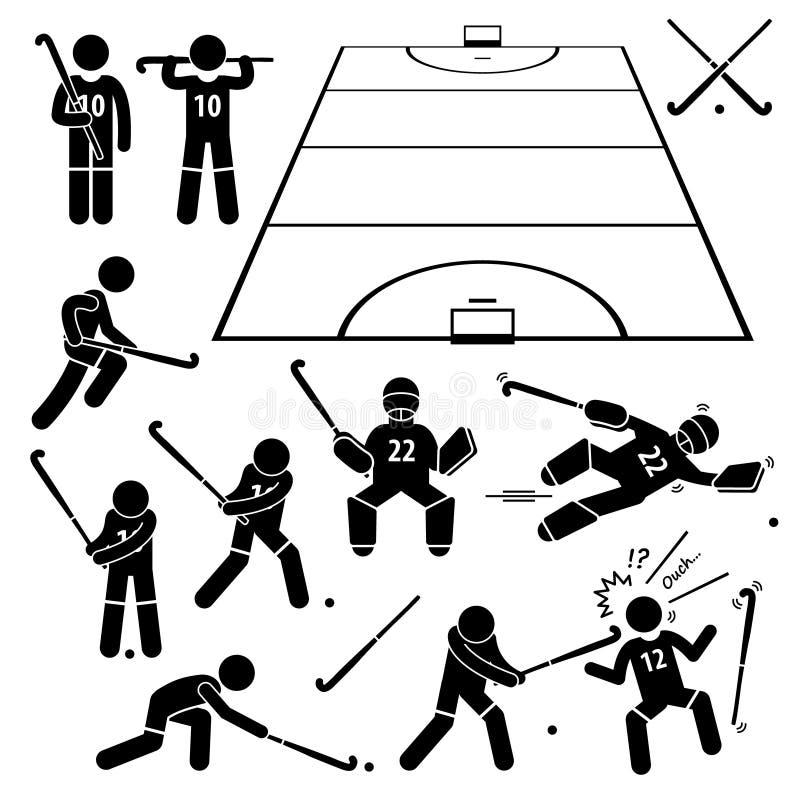 Handlingar för landhockeyspelare poserar Cliparts stock illustrationer
