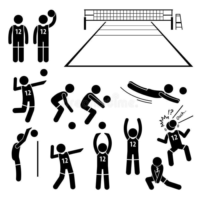 Handlingar för volleybollspelare poserar ställingar Cliparts royaltyfri illustrationer