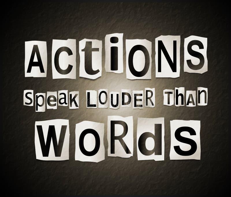 Handlingar talar mer hög än ord stock illustrationer