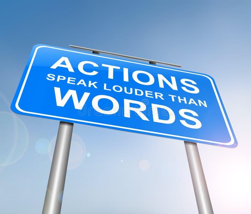 Handlingar talar mer hög än ord royaltyfri illustrationer