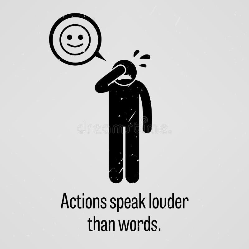 Handlingar talar mer hög än ord vektor illustrationer