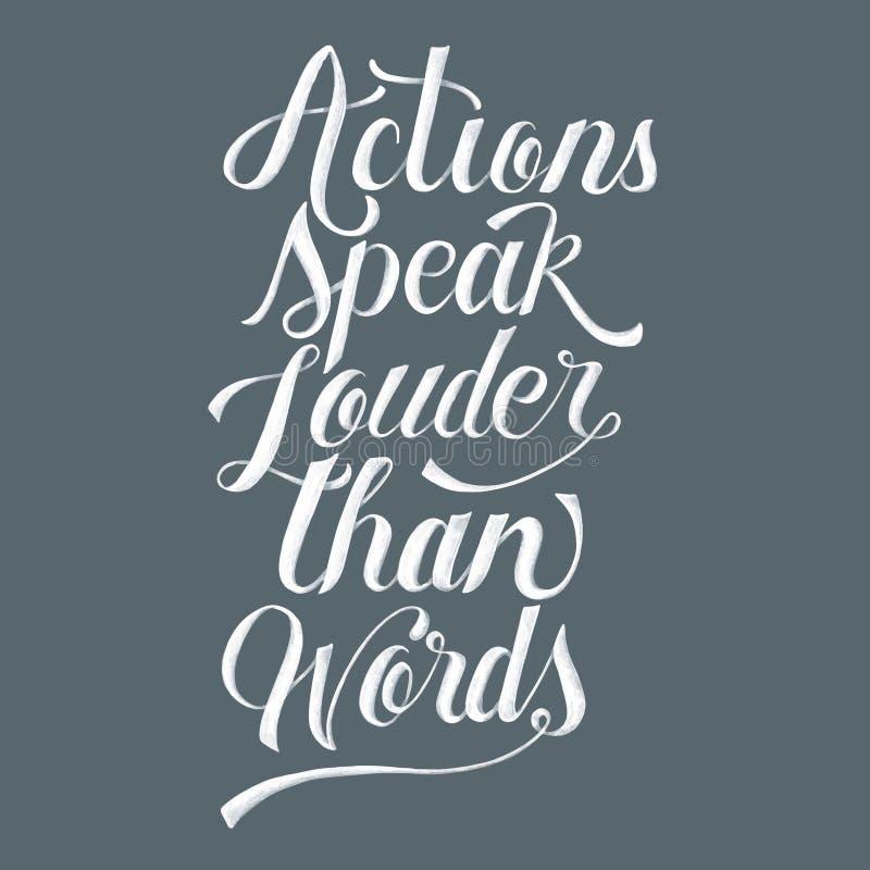 Handlingar talar mer hög än ordillustration stock illustrationer