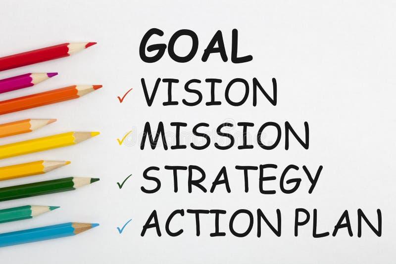 Handlingsplan för strategi för målvisionbeskickning arkivfoto