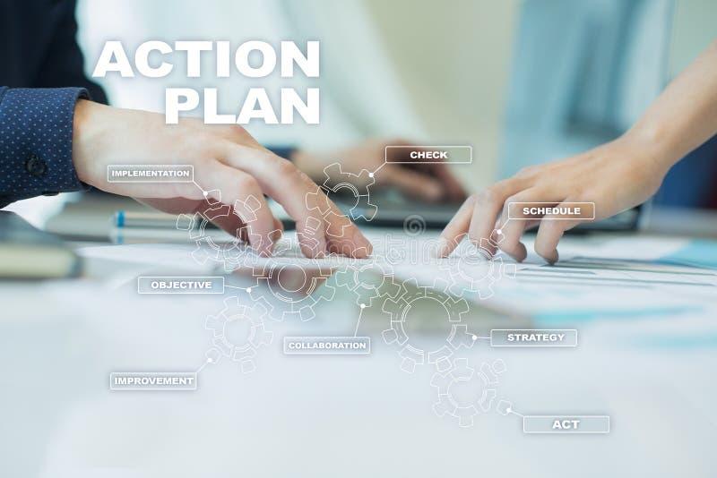 Handlingsplan på den faktiska skärmen bildplanläggningen för begreppet 3d framförde Fokusen är endast på ordaffärsstrategin, i re vektor illustrationer