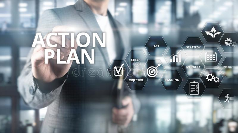 Handlingsplanstrategi som planerar visionriktning Finansiellt begrepp på suddig bakgrund vektor illustrationer