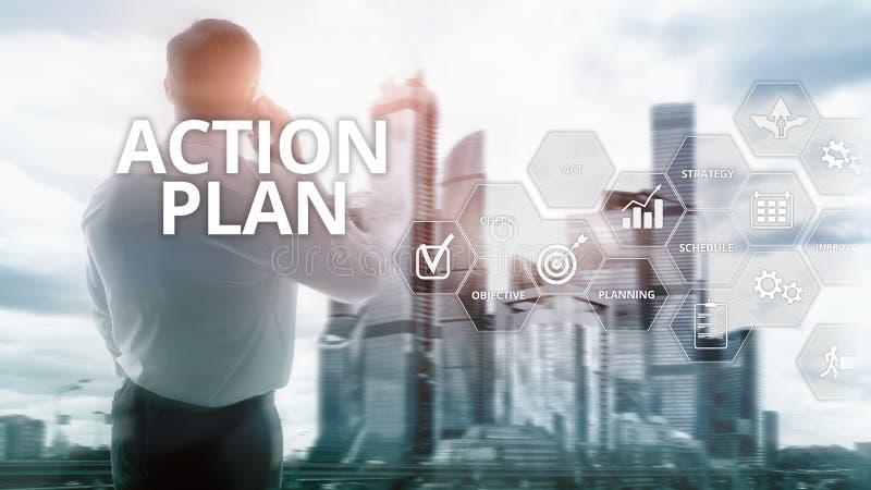 Handlingsplanstrategi som planerar visionriktning Finansiellt begrepp på suddig bakgrund royaltyfri illustrationer
