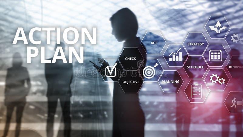 Handlingsplanstrategi som planerar visionriktning Finansiellt begrepp p? suddig bakgrund royaltyfri illustrationer