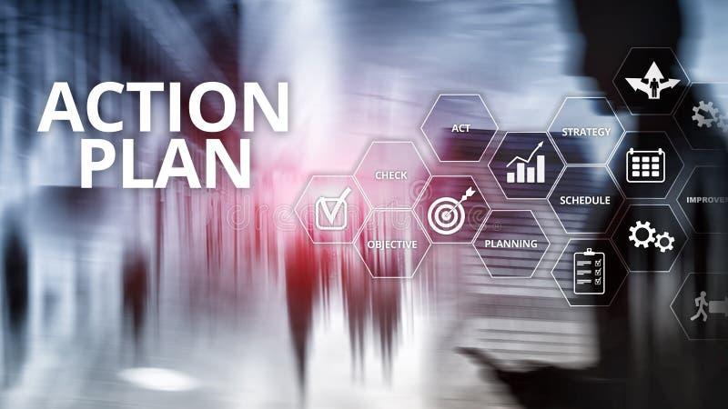 Handlingsplanstrategi som planerar visionriktning Finansiellt begrepp p? suddig bakgrund stock illustrationer