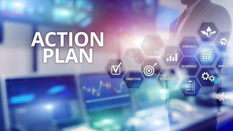 Handlingsplanstrategi som planerar visionriktning Finansiellt begrepp p? suddig bakgrund arkivbilder