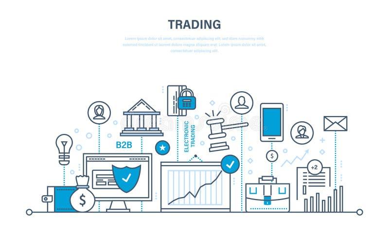Handlować, przyrost finanse, wskaźniki ekonomiczni, interakcja z klientami, transakcja ilustracja wektor