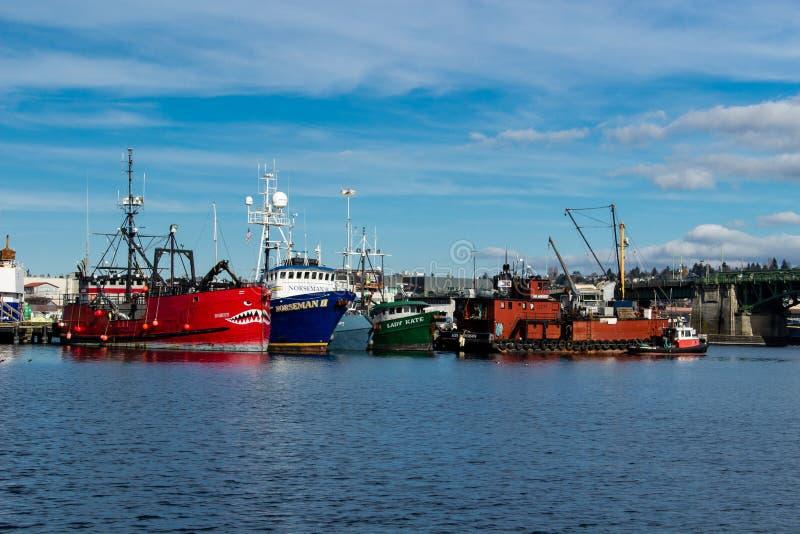 Handlowa łódź rybacka dokował przy rybaka ` s Terminal w Seattle Waszyngton zdjęcie royalty free