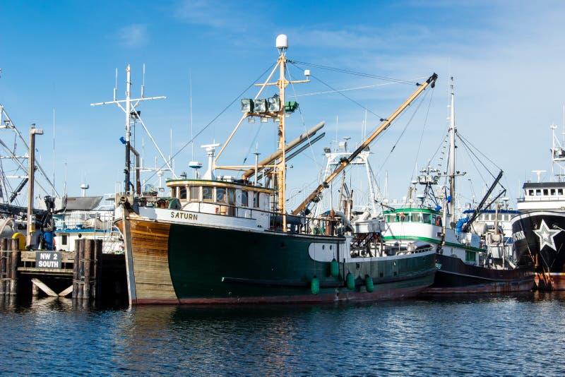 Handlowa łódź rybacka dokował przy rybaka ` s Terminal w Seattle Waszyngton zdjęcia stock