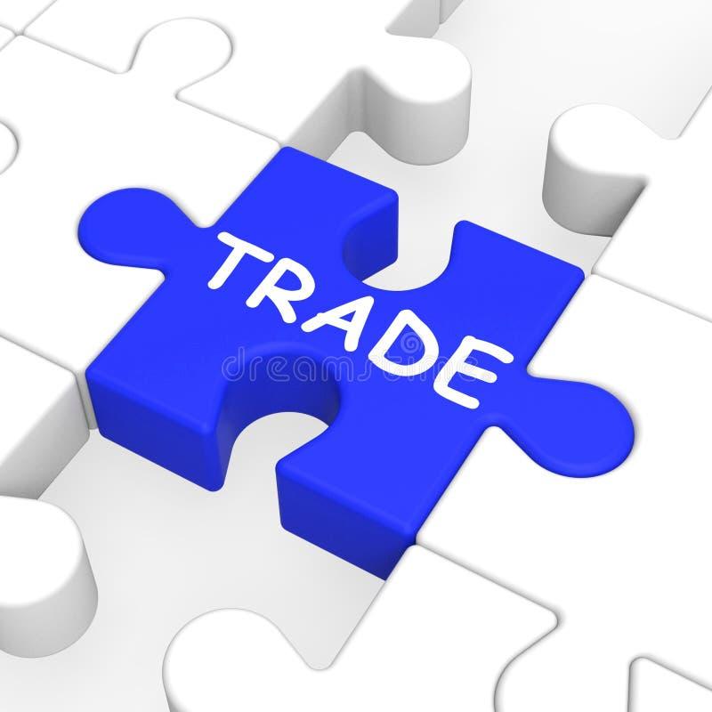 Handlowa Łamigłówka Pokazywać Eksportowanie I Import ilustracja wektor