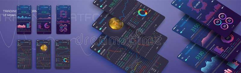 Handlowa wymiana app na telefonu ekranie Mobilny bankowości cryptocurrency ui Online akcyjnego handlu interfejsu wektor eps 10 royalty ilustracja