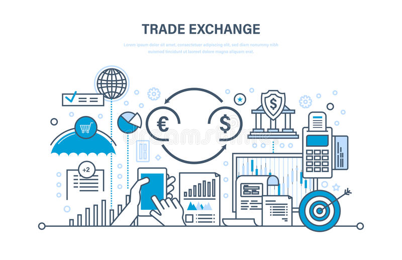 Handlowa wymiana, handel, ochrona, przyrost finanse, wskaźniki ekonomiczni, transakcja ilustracji