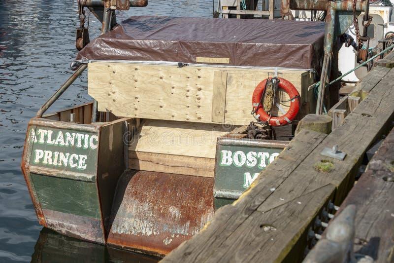 Handlowej łodzi rybackiej Atlantycki książe, wita portowego Boston przy Nowym Bedford nabrzeżem, Massachusetts, fotografia stock