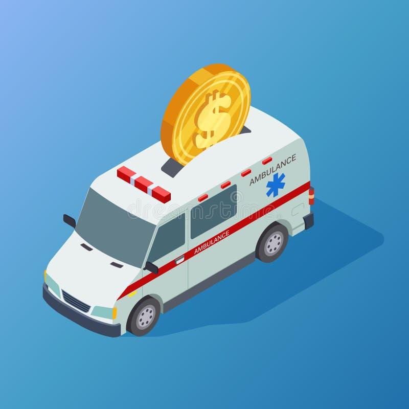 Handlowej medycyny wektorowa isometric karetka i moneta ilustracji