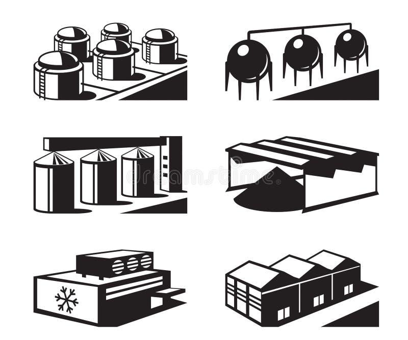Handlowi i przemysłowi magazyny royalty ilustracja