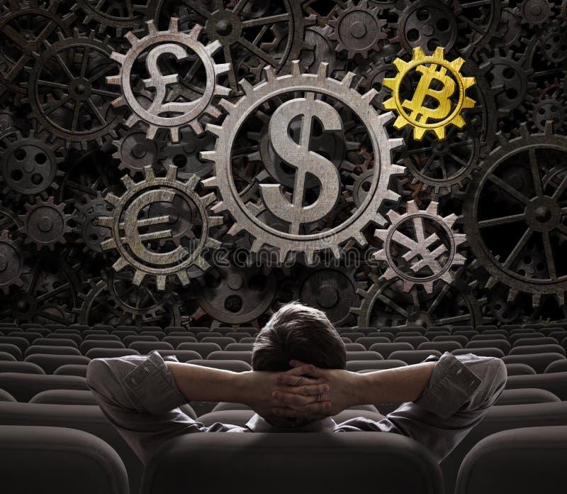 Handlowiec lub inwestor patrzeje na walut przekładniach wliczając bitcoin 3d ilustraci zdjęcie royalty free