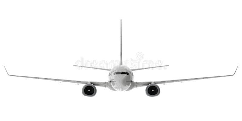 Handlowy dżetowy samolot 3 d czynią Frontowy widok royalty ilustracja