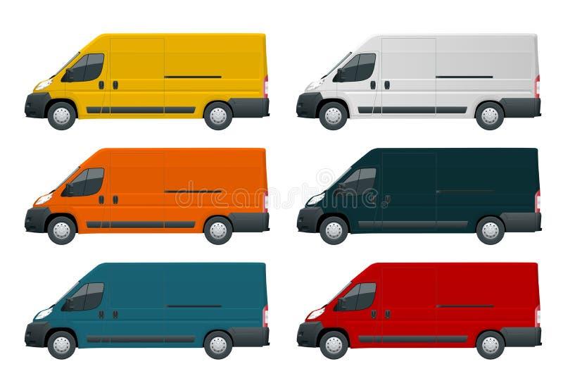 Handlowy pojazd lub Logistycznie samochód Ładunek furgonetka na białej tło Bocznego widoku zmianie w jeden stuknięciu kolor ilustracji