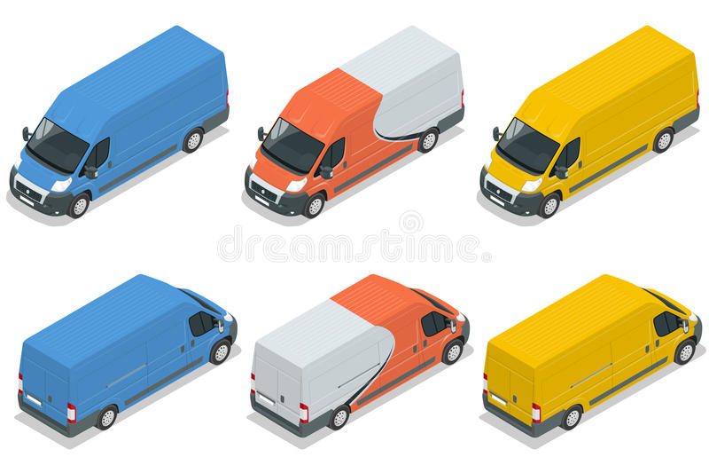 Handlowy pojazd, samochód dostawczy dla frachtu ładunek płaska 3d wektorowa isometric ilustracja odizolowywająca na białym tle ilustracji
