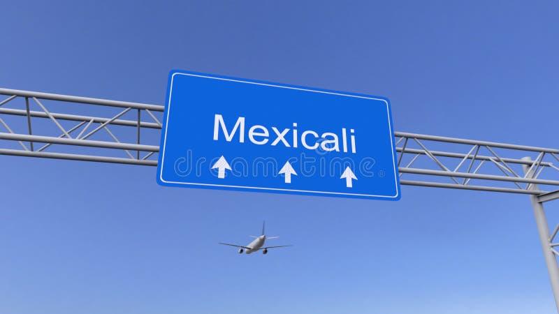 Handlowy samolotowy przyjeżdżać Mexicali lotnisko Podróżować Meksyk konceptualny 3D rendering zdjęcie royalty free