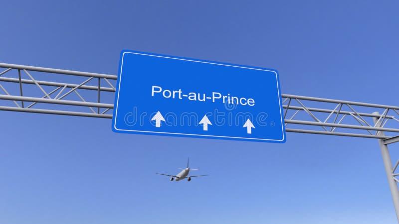 Handlowy samolotowy przyjeżdżać port-au-prince lotnisko Podróżować Haiti konceptualny 3D rendering zdjęcia stock