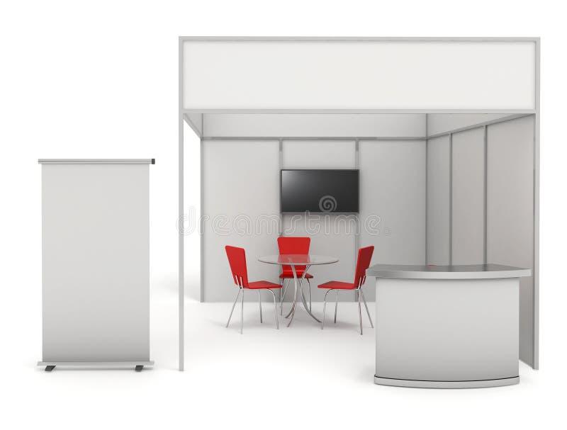 Handlowy wystawa stojak 3d i pusty rolka sztandar odpłacamy się - ilustracja wektor