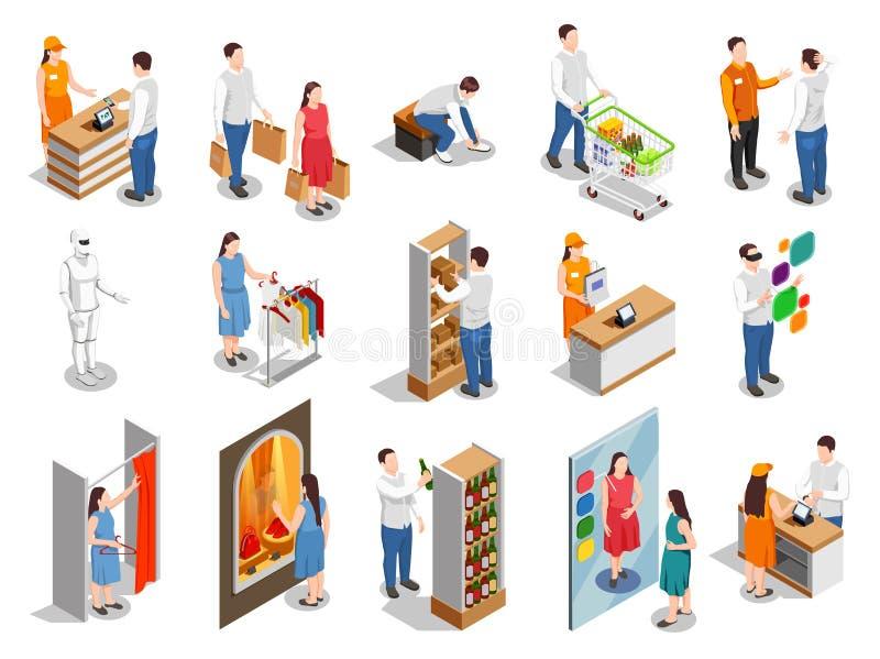 Handlowych konsumentów Isometric ludzie ilustracja wektor