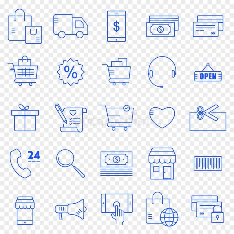 10 handlu e 10 eps kartoteki w pełni ikony set 25 ikon Wektorowa paczka royalty ilustracja