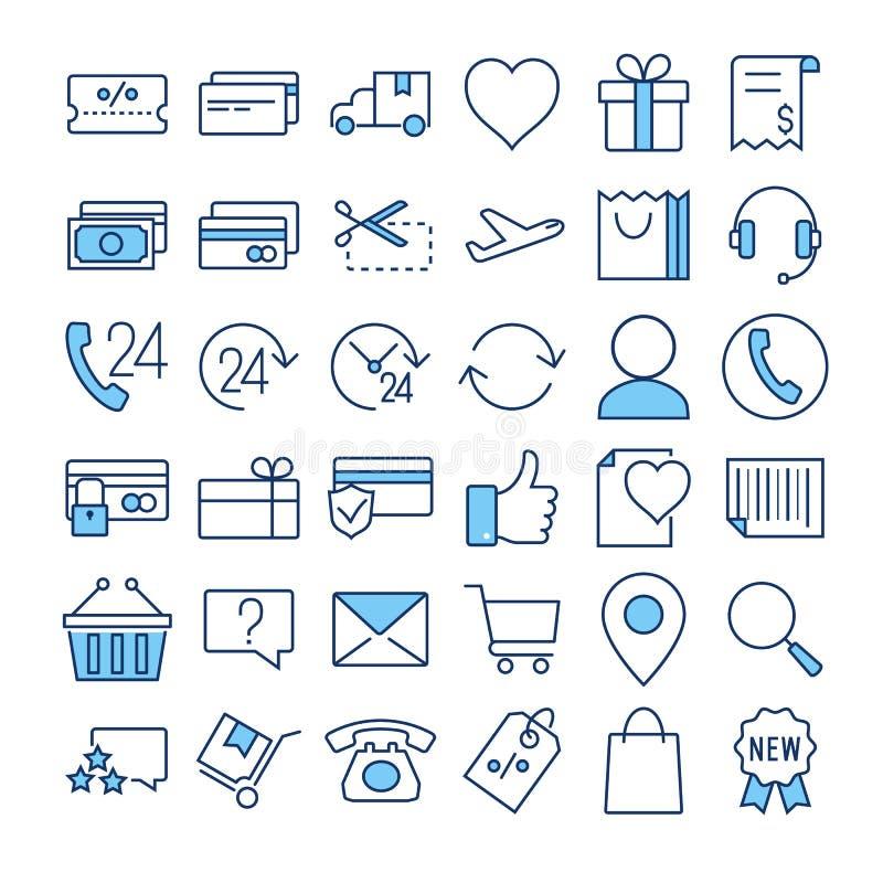 Handlu elektronicznego cienkiego kreskowego koloru wektorowe ikony ustawiać royalty ilustracja