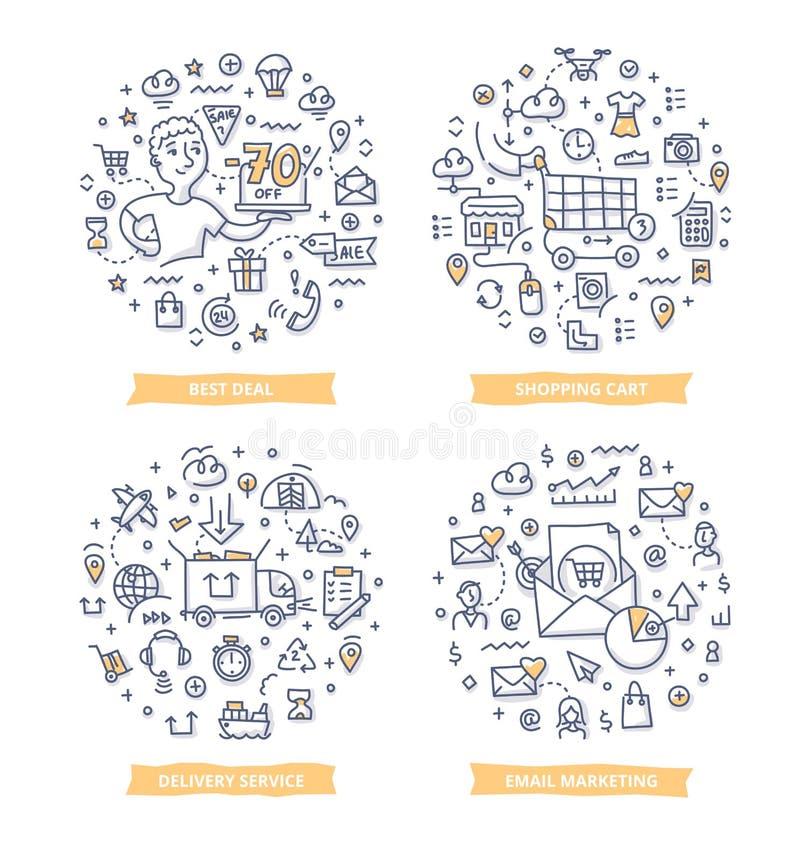 Handlu elektronicznego Doodle ilustracje ilustracja wektor