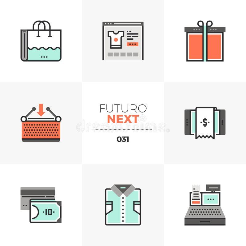 Handlu elektronicznego Futuro Następne ikony royalty ilustracja