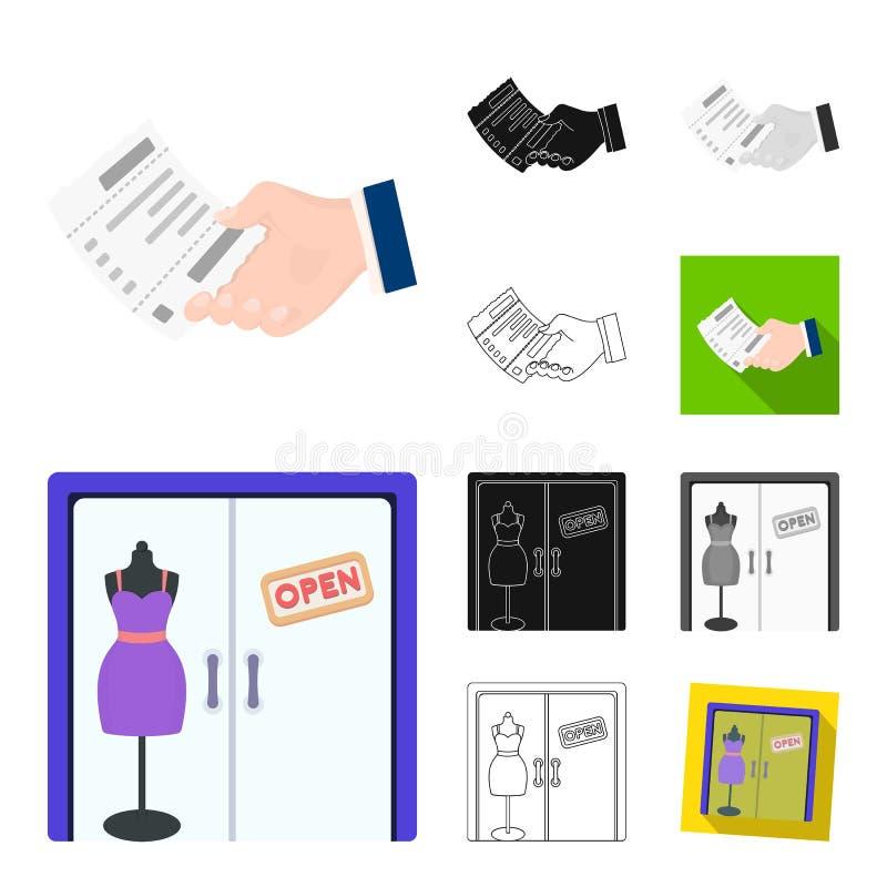 Handlu elektronicznego i biznesu kreskówka, czerń, mieszkanie, monochrom, kontur ikony w ustalonej kolekci dla projekta kupienia  royalty ilustracja
