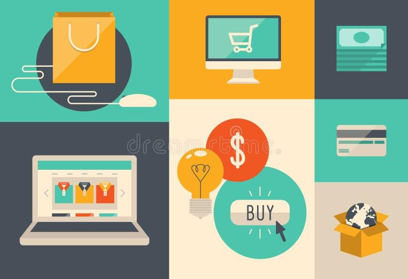 Handlu elektronicznego i interneta zakupy ikony ilustracja wektor
